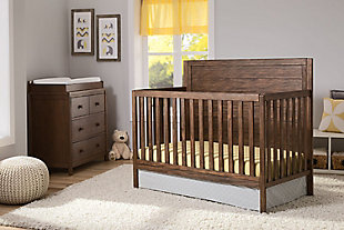 Delta Children Cambridge 4-in-1 Convertible Crib, Rustic Oak, rollover