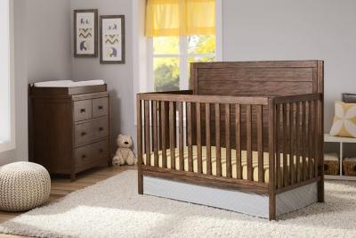 Delta Children Cambridge 4-in-1 Convertible Crib, Rustic Oak, large