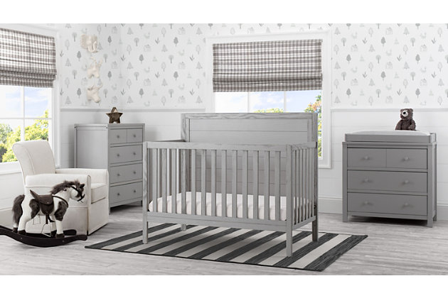 Delta Children Cambridge 4-in-1 Convertible Crib, Rustic Haze, large