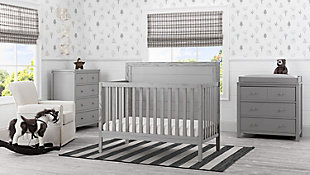 Delta Children Cambridge 4-in-1 Convertible Crib, Rustic Haze, rollover