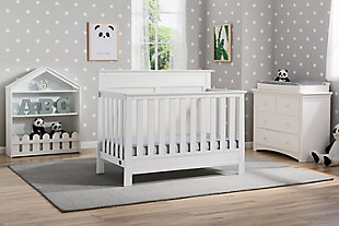 Delta Children Serta Fall River 4-in-1 Convertible Crib, White, rollover