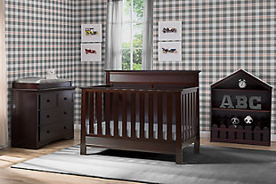 Delta Children Serta Fall River 4-in-1 Convertible Crib, Dark Chocolate, rollover