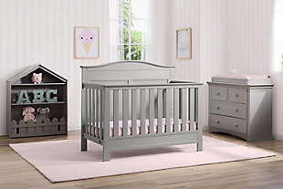 Delta Children Serta Barrett 4-in-1 Convertible Crib, Gray, rollover