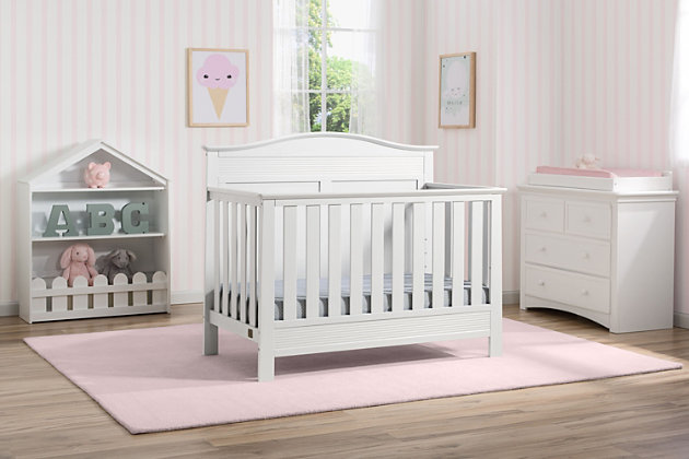Delta Children Serta Barrett 4-in-1 Convertible Crib, White, large
