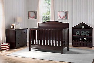 Delta Children Serta Barrett 4-in-1 Convertible Crib, Dark Chocolate, rollover