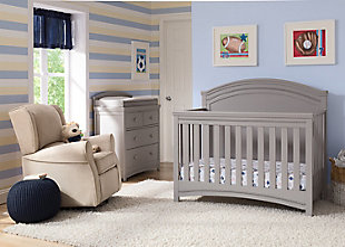 Delta Children Simmons Kids Emma Convertible Crib N More, Gray, rollover