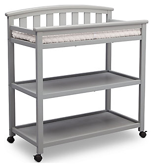 Delta Children Arch Top Changing Table with Wheels, Gray, large