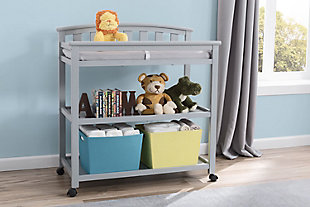 Delta Children Arch Top Changing Table with Wheels, Gray, rollover