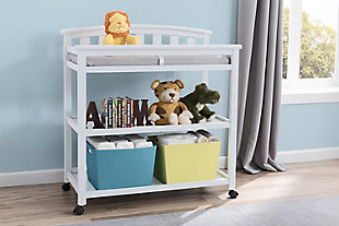 Delta Children Arch Top Changing Table with Wheels, White, rollover