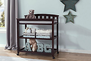 Delta Children Arch Top Changing Table with Wheels, Dark Chocolate, rollover