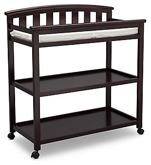Delta Children Arch Top Changing Table with Wheels, Dark Chocolate, large