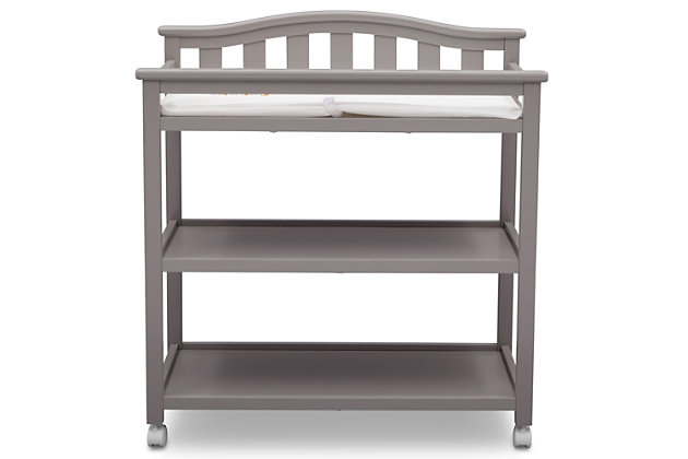 Delta Children Bell Top Changing Table with Wheels, Gray, large