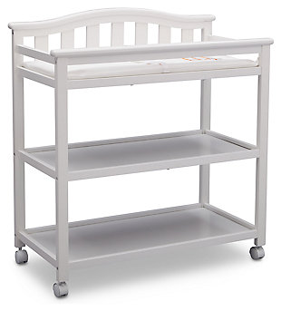 Delta Children Bell Top Changing Table with Wheels, White, large