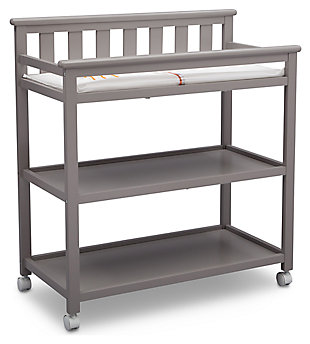 Delta Children Flat Top Changing Table with Wheels, Gray, large