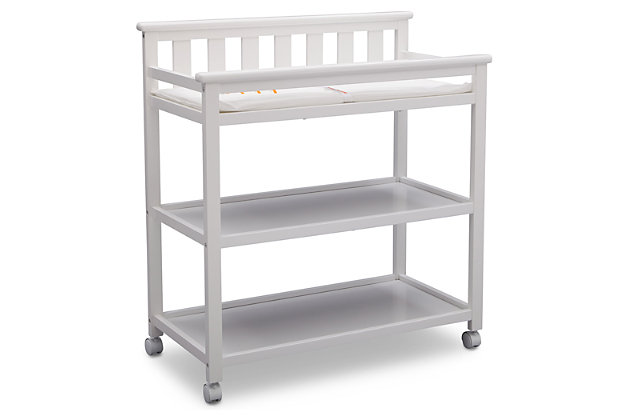 Delta Children Flat Top Changing Table with Wheels, White, large