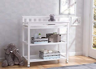 Delta Children Flat Top Changing Table With Wheels, White, rollover