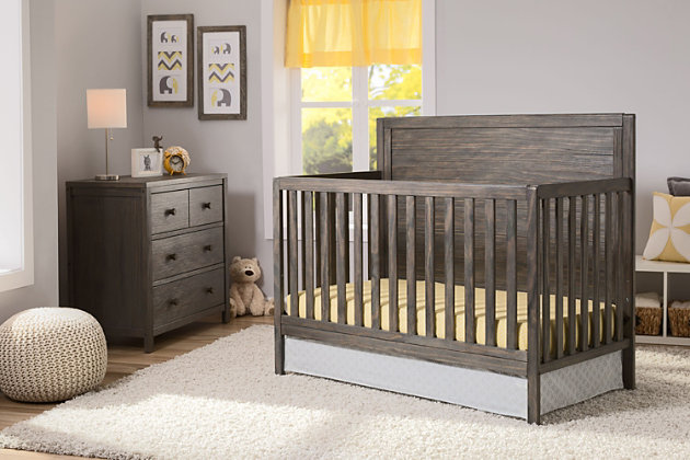 Delta Children Cambridge 3 Drawer Dresser, Rustic Gray, large
