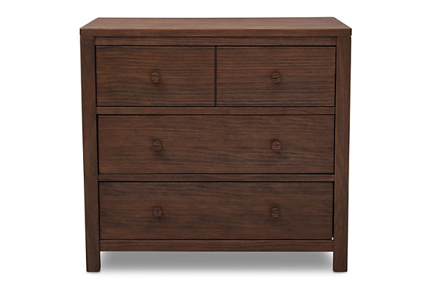 Delta Children Cambridge 3 Drawer Dresser, Rustic Oak, large