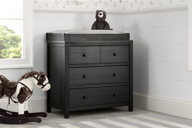 Delta Children Cambridge 3 Drawer Dresser, Rustic Ebony, large