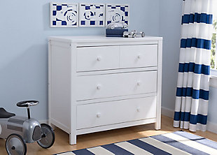 Delta Children 3 Drawer Dresser, White, rollover