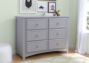 Delta Children 6 Drawer Dresser, Gray, rollover