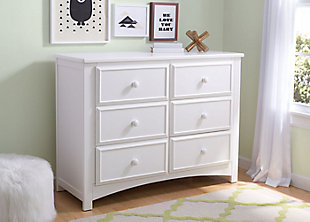 Delta Children 6 Drawer Dresser, White, rollover
