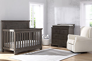 Delta Children Simmons Kids Paloma 4 Drawer Dresser With Changing Top, Rustic Gray, rollover