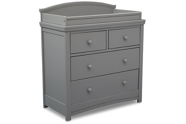 Delta Children Simmons Kids Emma 4 Drawer Dresser with Changing Top, Gray, large