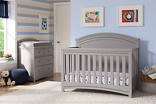 Delta Children Simmons Kids Emma 4 Drawer Dresser With Changing Top, Gray, rollover
