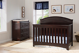 Delta Children Simmons Kids Emma 4 Drawer Dresser with Changing Top, Black/Espresso, rollover