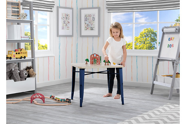 Delta Children Bistro Kids Play Table, Navy/Driftwood, large
