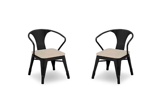 Delta Children Bistro 2-Piece Chair Set, Black/Driftwood, large