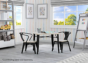 Delta Children Bistro 2-Piece Chair Set, Black/Driftwood, rollover