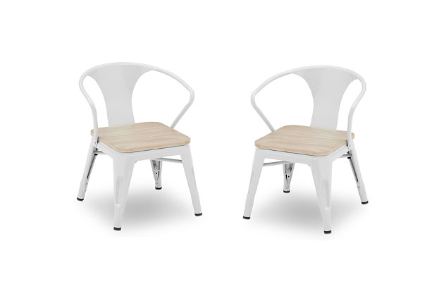 Delta Children Bistro 2-Piece Chair Set, White/Driftwood, large