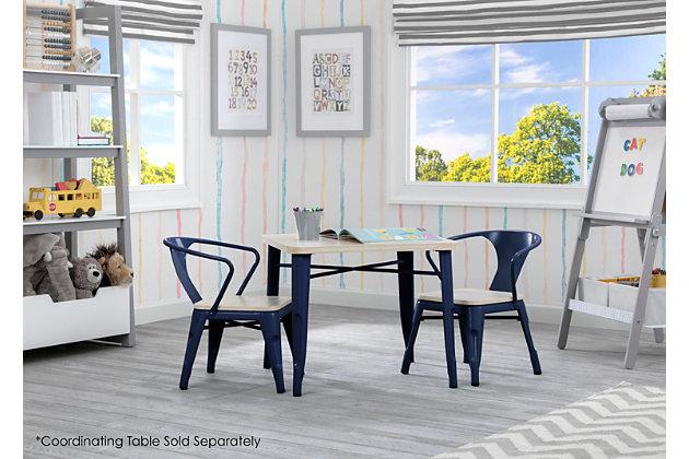 Delta Children Bistro 2-piece Chair Set, Navy/Driftwood, large