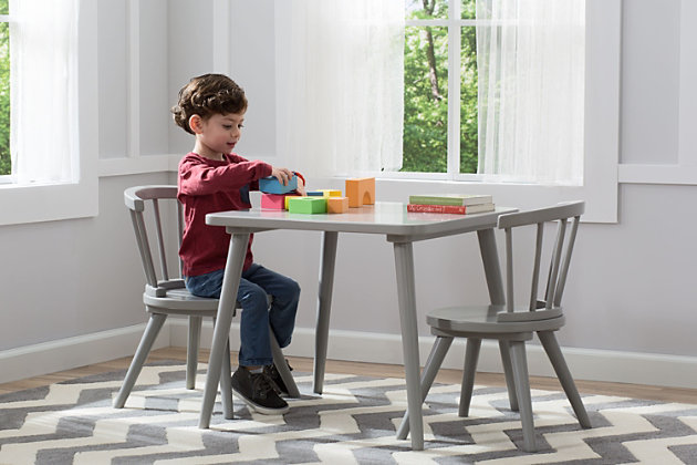 Delta Children Windsor Kids Wood Table and 2 Chair Set, , large