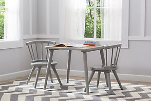 Delta Children Windsor Kids Wood Table and 2 Chair Set, Gray, rollover