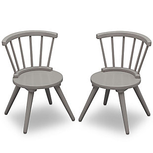 Delta Children Windsor Kids Wood Table And 2 Chair Set, Gray, large