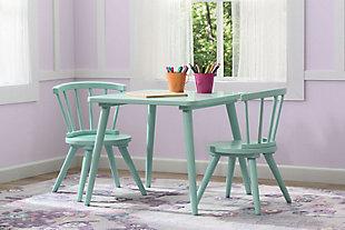 Delta Children Windsor Kids Wood Table And 2 Chair Set, Aqua, large
