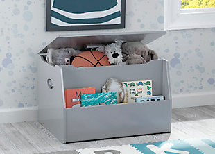 Delta Children Nolan Toy Box, Gray, rollover