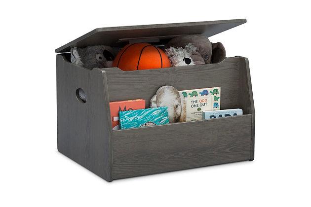 Delta Children Nolan Toy Box, Gray/Brown, large