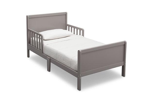 Delta Children Fancy Wood Toddler Bed, Gray, large