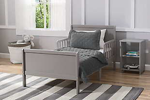 Delta Children Fancy Wood Toddler Bed, Gray, rollover