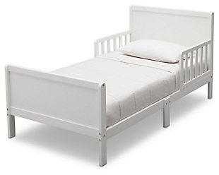 Delta Children Fancy Wood Toddler Bed, White, large