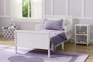 Delta Children Fancy Wood Toddler Bed, White, rollover
