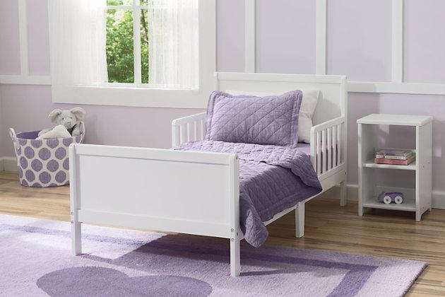 Delta Children Fancy Wood Toddler Bed, White, large