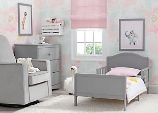 Delta Children Bennett Wood Toddler Bed, Gray, rollover