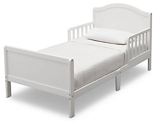 Delta Children Bennett Wood Toddler Bed, White, large