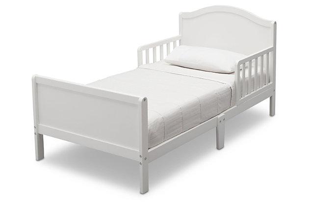 Delta Children Bennett Wood Toddler Bed, White, large