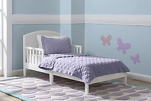 Delta Children Abby Wood Toddler Bed, White, rollover